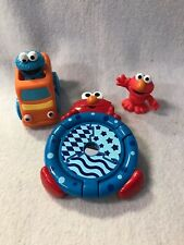 Lot Of 3 Sesame Street Figure Toy lElmo Cookie Monster Vehicle Car Baby Mirror