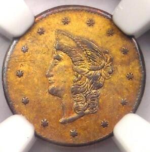 1870 Liberty Round California Gold Dollar Coin $1 BG-1205 R4+ .. NGC AU Details!
