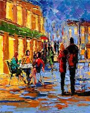 ANDRE DLUHOS city sidewalk cafe downtown eve people limited edition PRINT 08/75