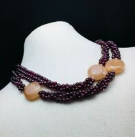 Designer necklace of Red Garnet smooth round & Moonstone faceted round disc bead