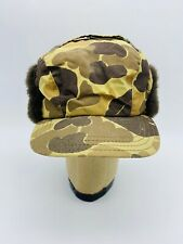 Vintage Gore-Tex Camo Thinsulate Duck Hunting Hat Fur Ear Flap Cap Insulated
