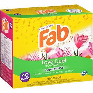 Fab Love Duet Laundry Powder Detergent 40 Loads 2.6lb. 2 Pack