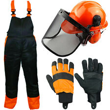 Chainsaw Bib Brace Large 34/38 + Helmet Ear Muffs Visor Chin Strap + Gloves