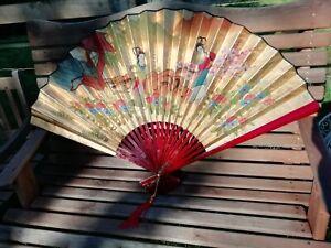 Large Vintage Chinese Gold Fan Wall Art Hand Painted Geisha Girls Original Box