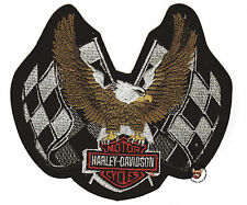 HARLEY DAVIDSON CHECKERED FLAGS UP-WING EAGLE PATCH RETIRED DESIGN BAR & SHIELD