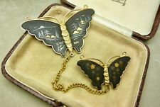 K24 Butterfly Insect Brooch Pin Vintage Jewellery Japanese Enamel Damascene