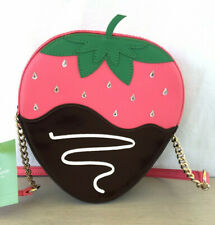 Kate Spade Chocolate Dipped Pink Strawberry Leather Cross Body Purse. Small