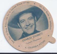 VINTAGE 1950s DIXIE ICE CREAM CUP MOVIE STAR LID CHARLES STARRETT