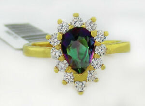 MYSTIC TOPAZ & WHITE SAPPHIRES RING 14K YELLOW GOLD PLATED * NWT * Size 5.25