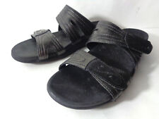 COBB HILL by NEW BALANCE Renee US 10M Black Pewter Leather Slide Sandals Shoes