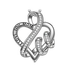 18K White Gold Plated NECKLACE I LOVE YOU HEART MOTHERS DAY GIFT HER MOM WIFE