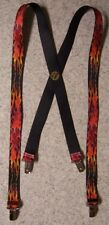 "Suspenders Children & Junior 1""x36"" FULLY Elastic Biker Flames Red NEW Made USA"