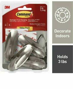 Command 3 lb Capacity Hooks, Indoor Use, 4 hooks, 6 strips Brushed nickle
