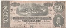 1864 Confederate States of America $10 Ten Dollar Note Genuine, Free Shipping