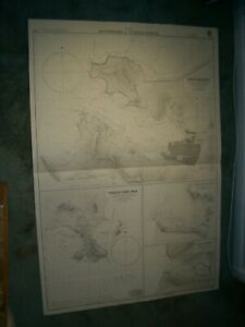 Vintage Admiralty Chart 499 ANCHORAGES IN ST. LUCIA ISLAND 1938 edn