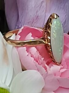 STUNNING SECONDHAND 18ct YELLOW GOLD OPAL COCKTAIL RING SIZE  M 1/2