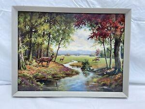Beautiful Vintage Framed Deer in a Meadow Print