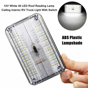 1X RV Trunk Interior LED Plastic Roof Reading Lamp Ceiling White Light W/Switch
