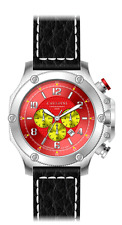 LUXURY CHRONOGRAPH Cavadini Watch Extravagant Red-Yellow Face New Collection