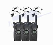 3 Motorola CLS1110 UHF Two Way Radios with HKLN4599 Earpieces with PTT Mics