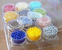 12 Jars 8/0 Czech Glass Seed Beads Rosaline Yellow Iris Purple Grey Red Amber +