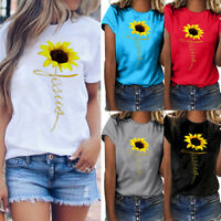 Women Plus Size Sunflower Print Short Sleeve T-shirt Casual Blouse Fashion Tops