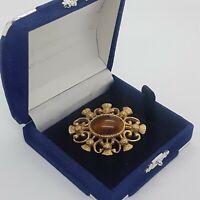 VINTAGE Scottish Thistle Brooch Collar Pin Gold Tone Brown Glass/Tiger Eye Stone