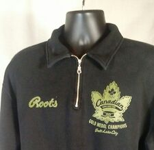 2002 Olympic Gold Women ROOTS Athletics Zip Hoodie Double Side Black