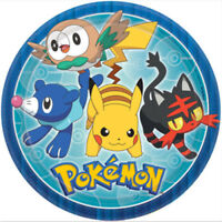 "POKEMON CORE PLATES 9""/23CM PACK OF 8 BIRTHDAY PARTY SUPPLIES"