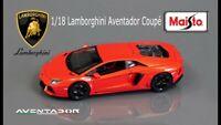 Red Orange Lamborghini Aventador Coupe Diecast Car Maisto 1:18 Special Edition