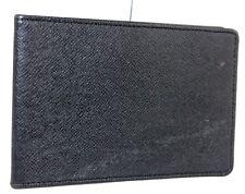 Authentic LOUIS VUITTON Bifold Pass Card Case taiga Leather Black SP1004