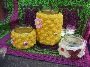 Hand crochet Honey Bee Deco jars set of three Picnic wedding christening summer