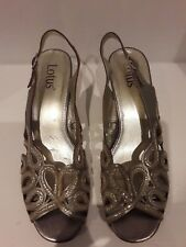 Lotus Ladies Metallic light gold leather slingback Shoes Size 7