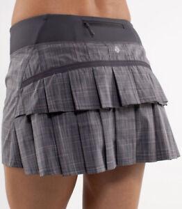 Lululemon Sz 6 Reg Pace Setter Skirt - Coal Pig Pink Shale Stripe - Rare!