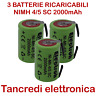 3x Batteria ricaricabile NiMh 4/5 SC 1,2V 2000mAh terminali saldare lamelle tabs
