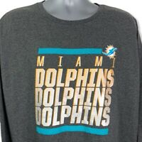MIAMI DOLPHINS NFL Mens Unisex Majestic T-Shirt Gray Long Sleeve 2XL New