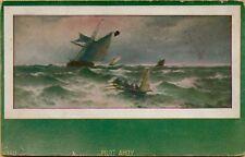 1912 Pilot Ahoy Boats Ships in Rough Ocean Sea Waves Postcard C27