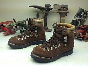 DISTRESSED LACE UP ITALY VINTAGE BROWN LEATHER MOUNTAIN TRAIL BOSS BOOTS 10-11