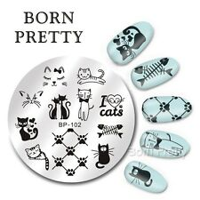 BORN PRETTY  Round Nail Art Stamp Template Cute Cats Design Image Plate BP-102