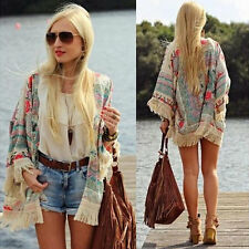 Womens Summer Blouse Sexy Floral Shirt Loose Kimono Cardigan Casual Tops GD