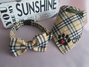 Personalised Burberry look check dog collar, bow, bandanna and lead available