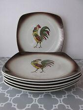 Vintage 50's Orchard Ware Rooster Set of 6 Dinner Plates
