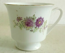 Made in China, Footed Teacup featuring Chrysanthemum Flowers, Gold Accent Trim