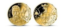 Poland Curie Medals Jozef Pilsudski Brass Platered 24K Gold only 10.000 pcs