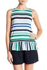 Joe Fresh Womens Size Large Sleeveless Striped Patterned Peplum Tank Top 159
