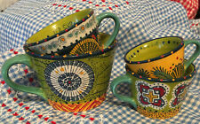 Rare Set of 4 Anthropologie Hand Painted Tuscan Medallion Ceramic Measuring Cups