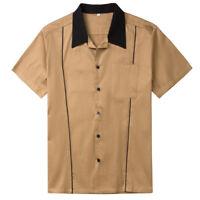 Rock Steady POPCHECK Retro CLASSIC Two-Tone Bowling Shirt HEMD Rockabilly