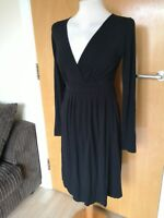 Ladies Dress Size M 10 THE WHITE COMPANY Black Stretch Jersey Casual Day Party