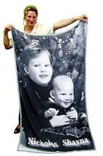 Black/White Knitted Personalized Photo Blanket Custom Throw 40x60