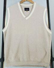 STRAIGHT DOWN Size Large Mens Made in USA V-Neck Golf Casual Sweater Vest Tan